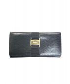 Salvatore Ferragamo(サルヴァトーレフェラガモ)の古着「リザード型押し二つ折り長財布」|ブラック