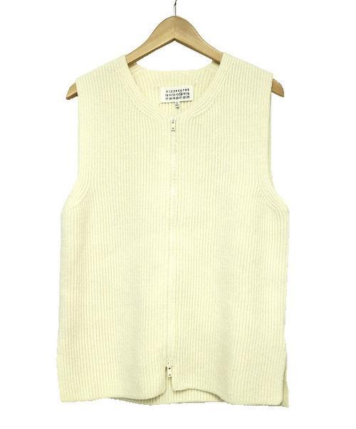 Maison Margiela(メゾンマルジェラ)Maison Margiela (メゾンマルジェラ) ドライバーズニット ホワイト サイズ:S S30GP0195 Zip Knit Vestの古着・服飾アイテム