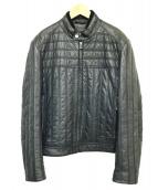 HUGO BOSS(ヒューゴボス)の古着「ステッチデザインラムレザージャケット」|ブラック
