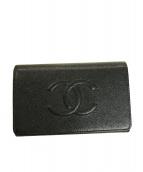 CHANEL(シャネル)の古着「キャビアスキンココマーク3つ折り財布」|ブラック