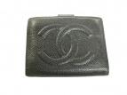 CHANEL(シャネル)の古着「キャビアスキン2つ折り財布」|ブラック
