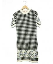 MSGM(エムエスジーエム)の古着「半袖ニットワンピース」|ホワイト×ブラック