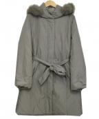 NATURAL BEAUTY(ナチュラルビューティー)の古着「フォックスファー付ロングダウンコート」 ベージュ