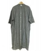 yuni(ユニ)の古着「カットワーク刺繍シャツワンピース」|グレー