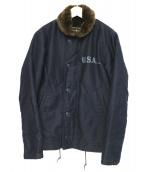 ALPHA(アルファ)の古着「N-1デッキジャケット」 ネイビー