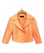 COTOO(コトゥ)の古着「シアーショートジャケット」|オレンジ