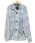 NIGEL CABOURN(ナイジェルケーボン)の古着「ボーダージャケット」|ホワイト×ブルー