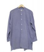 COMOLI(コモリ)の古着「ロング丈バンドカラーシャツ」|パープル