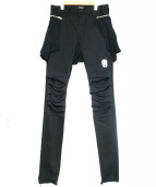 UNDERCOVER(アンダーカバー)の古着「シャツパーツ付ヒザ切替スリムパンツ」 ブラック