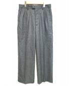 CLANE HOMME(クラネ オム)の古着「FLANNEL WIDE SLACKS PANTS」|グレー