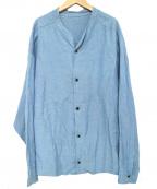 THE Sakaki(ザ サカキ)の古着「ノーカラーシャツ」|ブルー