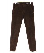 ENTRE AMIS(アントレアミ)の古着「ウォッシュドコットンストレッチコーデュロイテーパードクロップ」|ボルドー