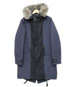 LANVIN en Bleu(ランバンオンブルー)の古着「フォックスファー付き ナイロンモッズコート」|ネイビー