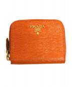 PRADA(プラダ)の古着「サフィアーノカーフコインケース」|オレンジ