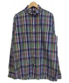 RALPH LAUREN PurpleLabel(ラルフローレンパープルラベル)の古着「ホリゾンタルカラーチェックシャツ」|ネイビー×パープル