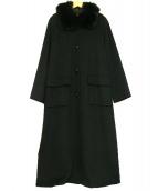 LEONARD(レオナール)の古着「襟ファーカシミヤロングコート」|ブラック