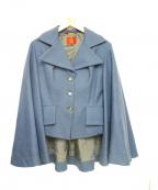Vivienne Westwood RED LABEL(ヴィヴィアンウェストウッド レッドレーベル)の古着「デザインマントコート」 ブルー