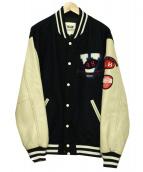 VAN JAC(ヴァンジャケット)の古着「アームレザースタジャン」|ネイビー×ブラウン