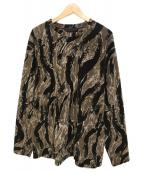 Needles Sportswear(ニードルズスポーツウェア)の古着「ポリフリースタイガーカモストライプカットソー」|ブラウン