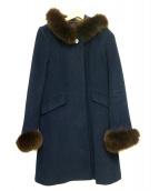 LAISSE PASSE(レッセパッセ)の古着「ファー付コート」|ネイビー