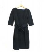 MS GRACY(エムズグレイシー)の古着「ベルト付 コクーン ワンピース」|ネイビー