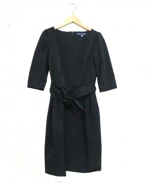 MS GRACY(エムズグレイシー)MS GRACY (エムズグレイシー) ベルト付 コクーン ワンピース ネイビー サイズ:36の古着・服飾アイテム