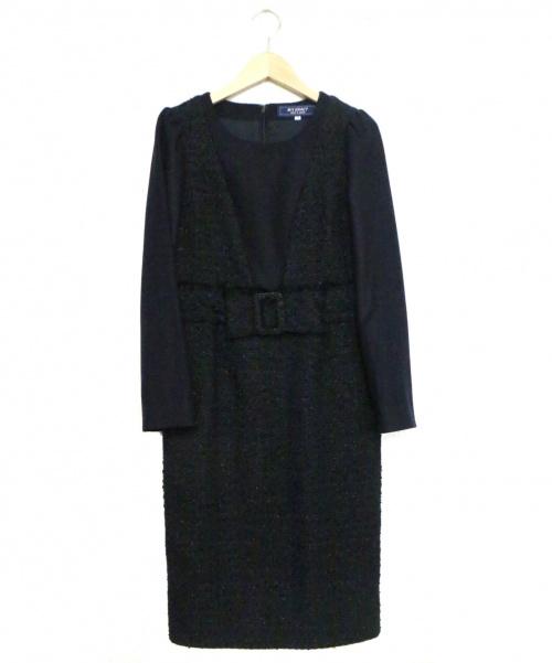 MS GRACY(エムズグレイシー)MS GRACY (エムズグレイシー) ツイード切替ウエストリボンモチーフワンピース ネイビー サイズ:36の古着・服飾アイテム