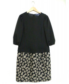 MS GRACY(エムズグレイシー)の古着「花柄切替 ワンピース」|ブラック