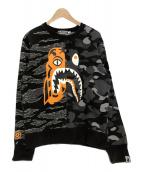 A BATHING APE × UNDEFEATED(アベイシングエイプ×アンディフィーデット)の古着「TIGER SHARKスウェット」|ブラック