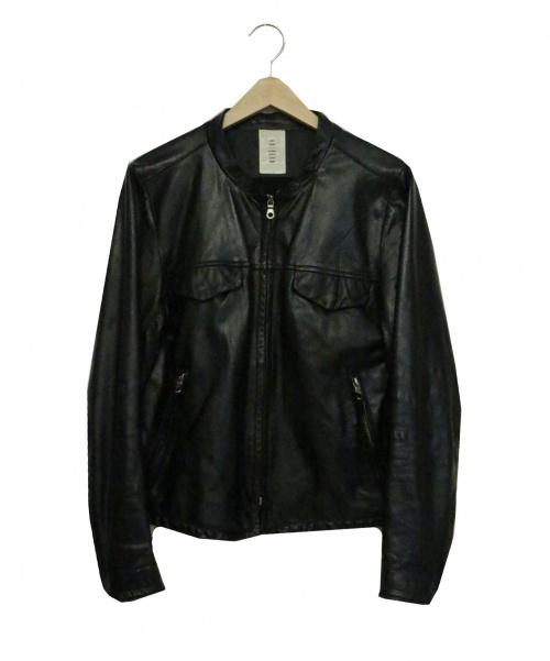 Shama(シャマ)Shama (シャマ) カウレザージャケット ブラック サイズ:38 STUDIOUS 15AW 定価46,000円の古着・服飾アイテム
