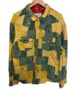 MINDSEEKER(マインドシーカー)の古着「再構築リメイクシャツ」|イエロー×グリーン×レッド