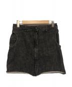 MM6(エムエムシックス)の古着「カットショートオフデニムスカート」|ブラック