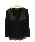 MS GRACY(エムズグレイシー)の古着「フリルネックカットソー」|ブラック
