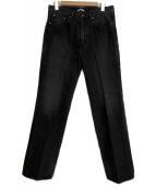AURALEE(オーラリー)の古着「WASHED HARD TWIST DENIM 5P PA」|ブラック
