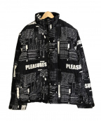 PLEASURES(プレジャーズ)の古着「プリント 中綿 ジャケット」 ブラック×ホワイト