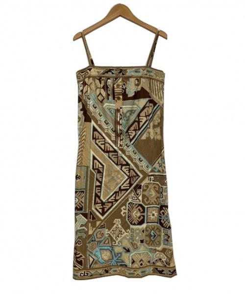 LEONARD(レオナール)LEONARD (レオナール) キャミソールワンピース ブラウン サイズ:Mの古着・服飾アイテム