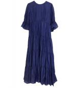 EMMEL REFINES(エメル リファインズ)の古着「P C/SI ティアード 5分袖 ワンピース」 ブルー
