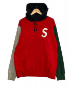 Supreme(シュプリーム)の古着「Sロゴプルオーバーパーカー」|レッド×グリーン