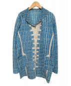 KOSHINO HIROKO(コシノヒロコ)の古着「プリーツ総柄ジャケット」|ブルー×グレー