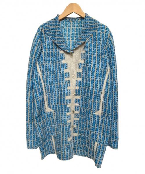 KOSHINO HIROKO(コシノヒロコ)KOSHINO HIROKO (コシノヒロコ) プリーツ総柄ジャケット ブルー×グレー サイズ:38 定価43.000円の古着・服飾アイテム