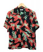 Sun Surf(サンサーフ)の古着「アロハシャツ」|ブラック×オレンジ