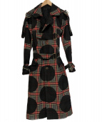 Vivienne Westwood man(ヴィヴィアンウエストウッドマン)の古着「ボンテージチェックトレンチコート」|レッド×グレー