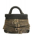 FACETASM(ファセッタズム)の古着「ヴィンテージ加工レザーカウレザーバッグ」 ブラック