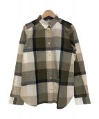 BLUE LABEL CRESTBRIDGE(ブルーレーベルクレストブリッジ)の古着「ブロックチェックシャツ」|カーキ×ベージュ
