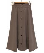 LAISSE PASSE(レッセパッセ)の古着「サスペンダー付ミディスカート」|ベージュ