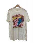 バンドTシャツ(ローリングストーンズ)の古着「[古着]80's ROLLINGSTONES バンドTシャツ」|ホワイト×レッド