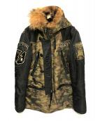 VANSON COTTONS(バンソンコットンズ)の古着「N-3Bジャケット」|カーキ×ブラック