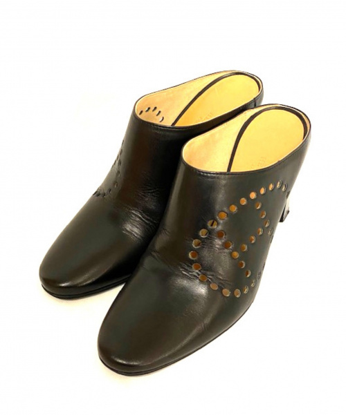 HERMES(エルメス)HERMES (エルメス) ミュール ブラック サイズ:38 エヴリン イタリア製 パンチング ロゴの古着・服飾アイテム