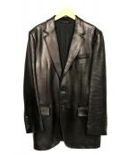 GUCCI(グッチ)の古着「レザーテーラードジャケット」|ブラック