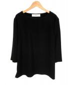 saqui(サキ)の古着「クルーネック七分袖プルオーバーブラウス」|ブラック